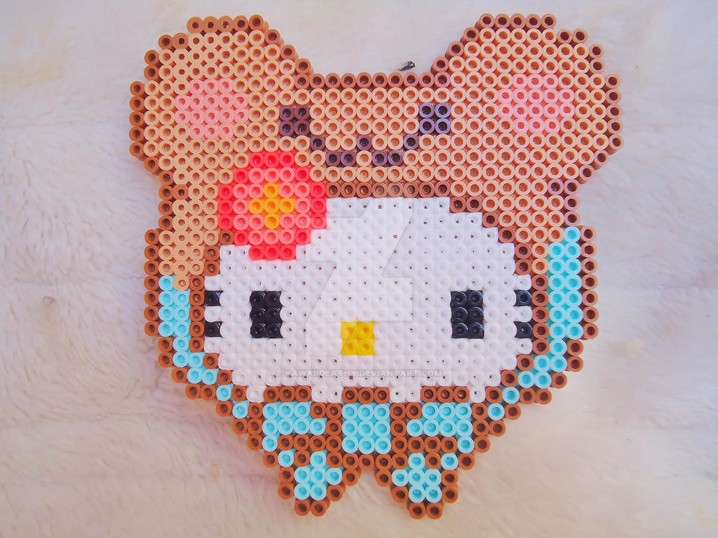 Perler Hello Kitty bear by KawaiiDeathy