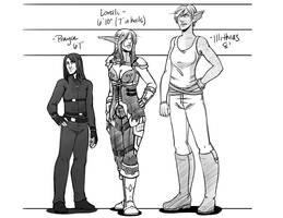 Prayce, Lore, Illi - Height Comparison by LoreliAoD