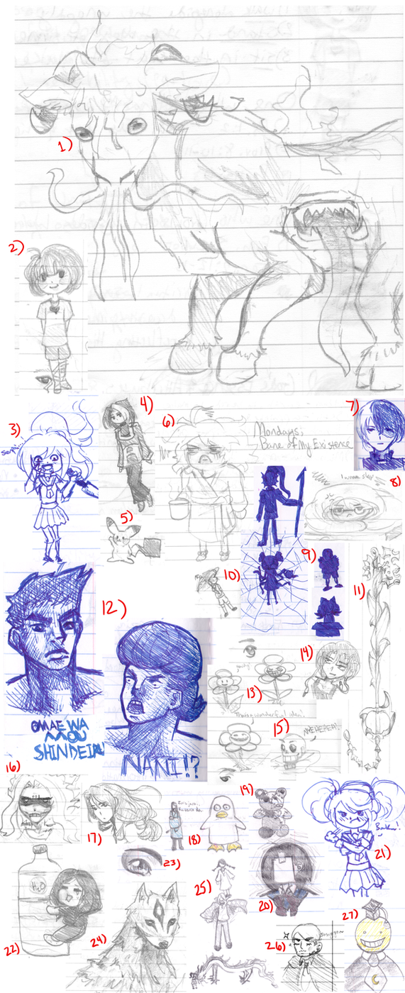 Senior HS doodles galore by DraketheOtaku