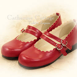 Red twin strap maryjanes by abriony