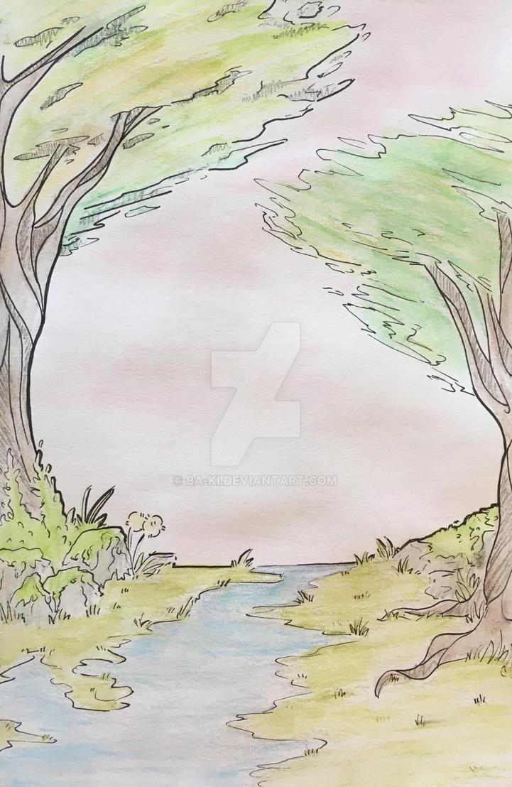 Watercolor tree by Ba-Ki