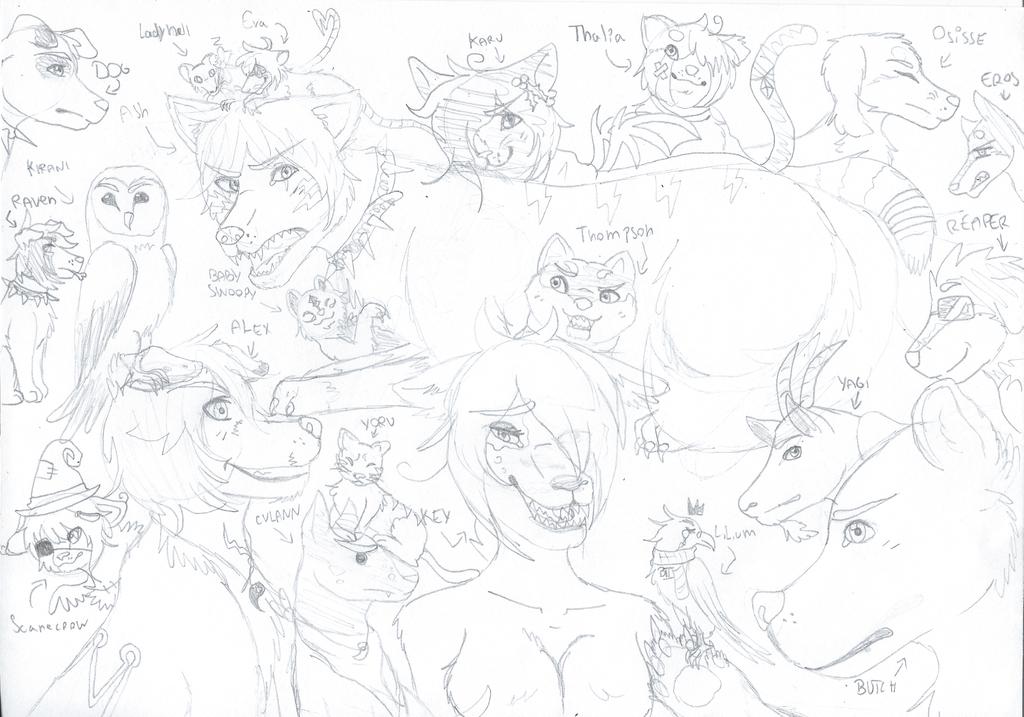 [sketch] All my animals OCs by RavenThalia