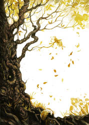 Golden tree by drizzledust