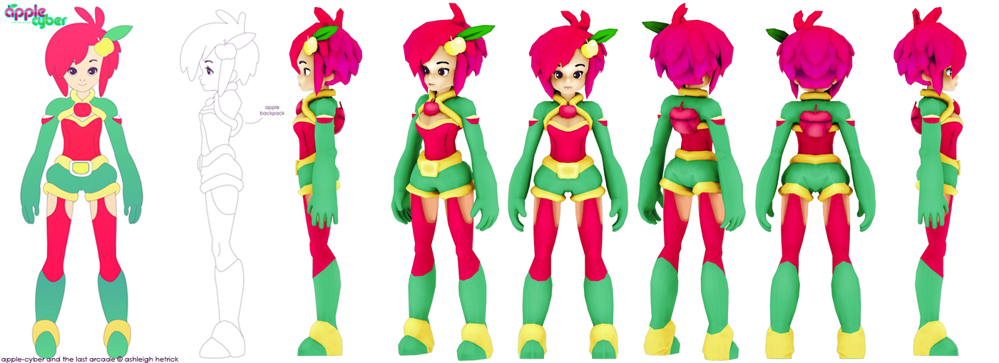 Character Design Notes Spot : Apple cyber low poly by pyawakit on deviantart