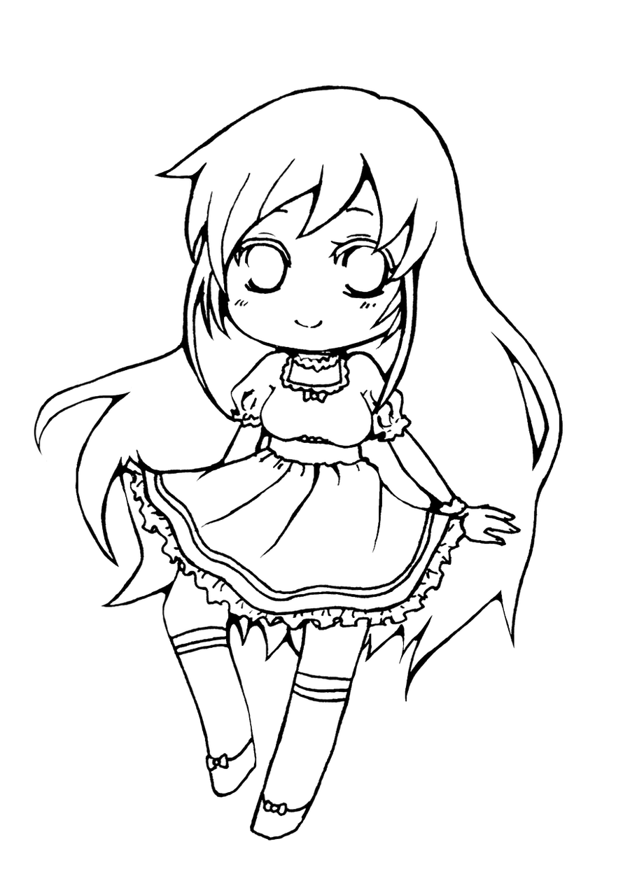 Chibi Lineart : Chibi spring girl lineart free for coloring by vocaloid