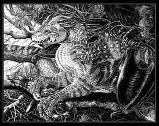 Winter Pine Dragon by GrendelDemon