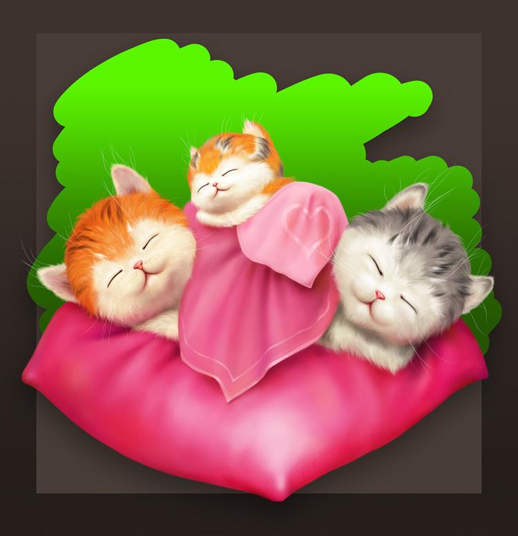 Kittens in Love.... Sleeping