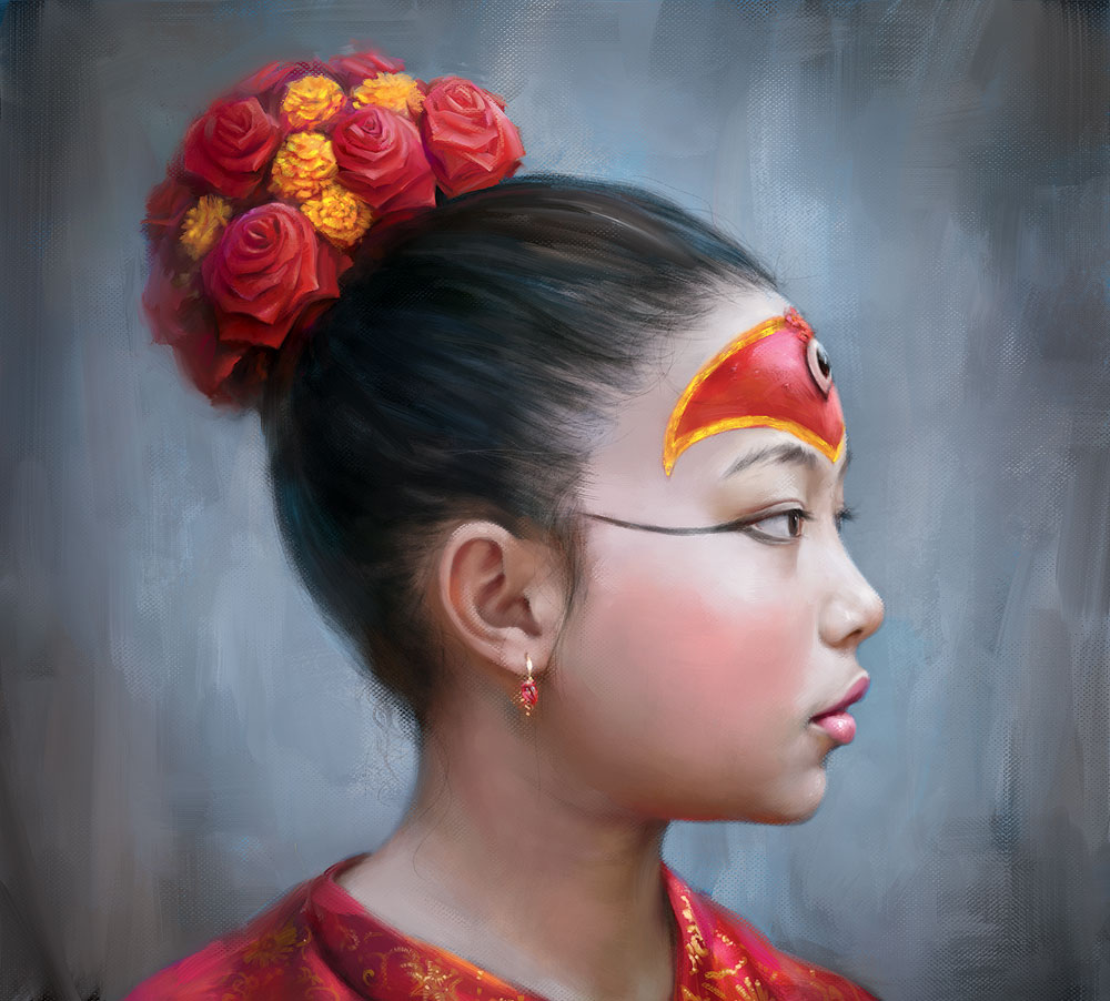 Nepal girl as the Kumari goddes by EldarZakirov