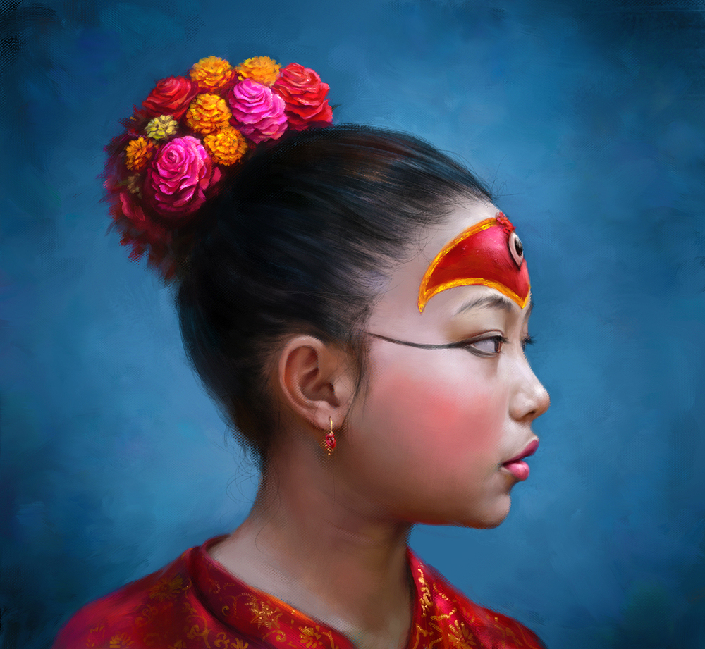 Nepal girl as the Kumari goddes (previous version) by EldarZakirov