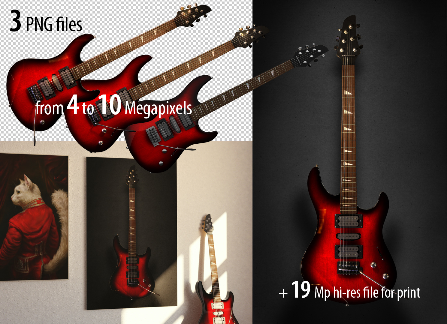 3 hi-resolution PNG Images of Electric Guitar by EldarZakirov