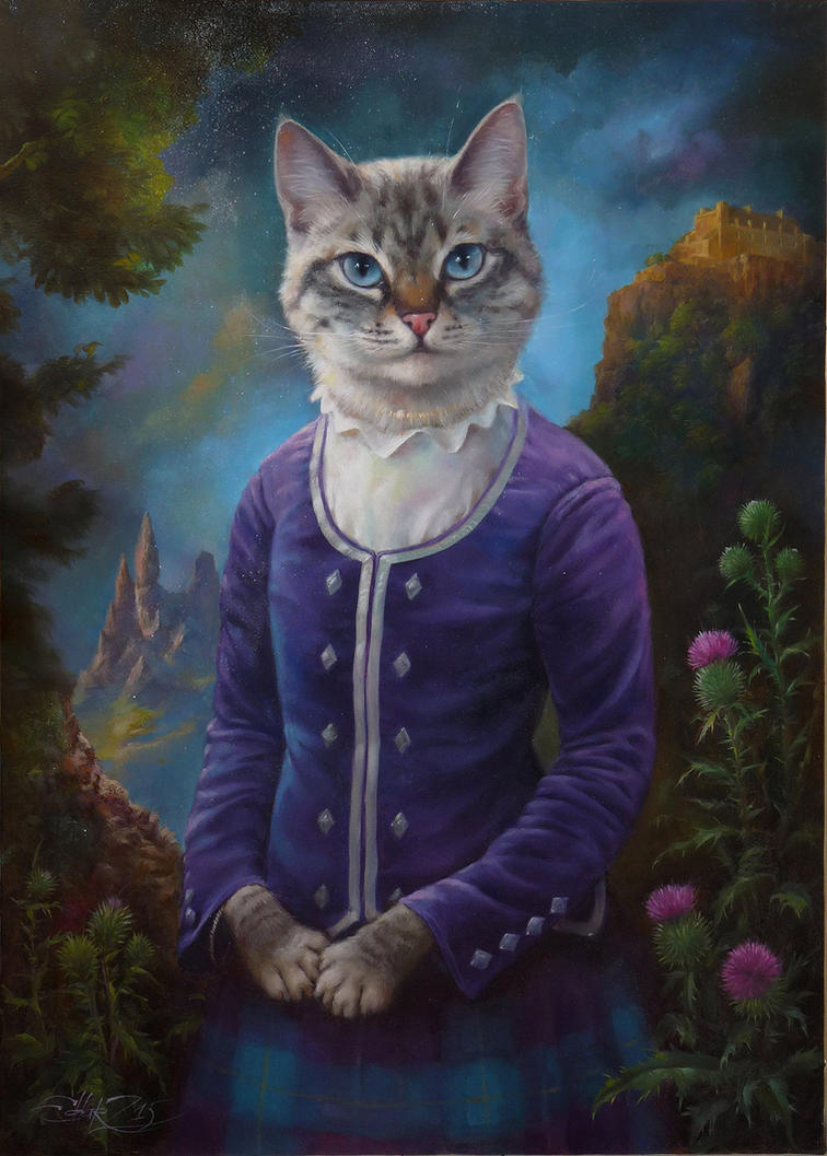 Lilou commission oil painting by eldarzakirov on deviantart for Cat paintings on canvas