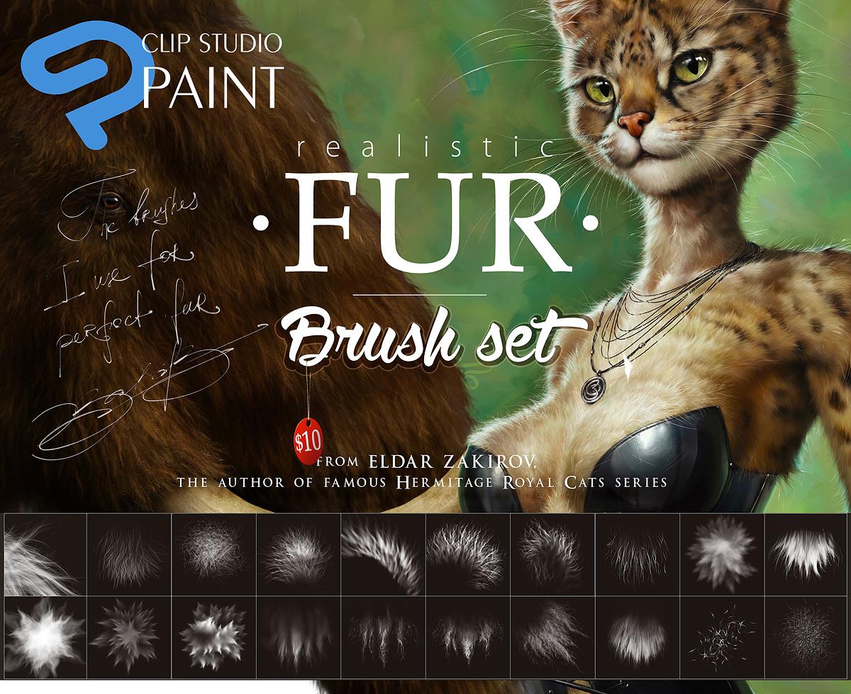 Clip Studio Paint Realistic Fur Brush Sub Tools By