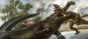 Sarcosuchus and Prey
