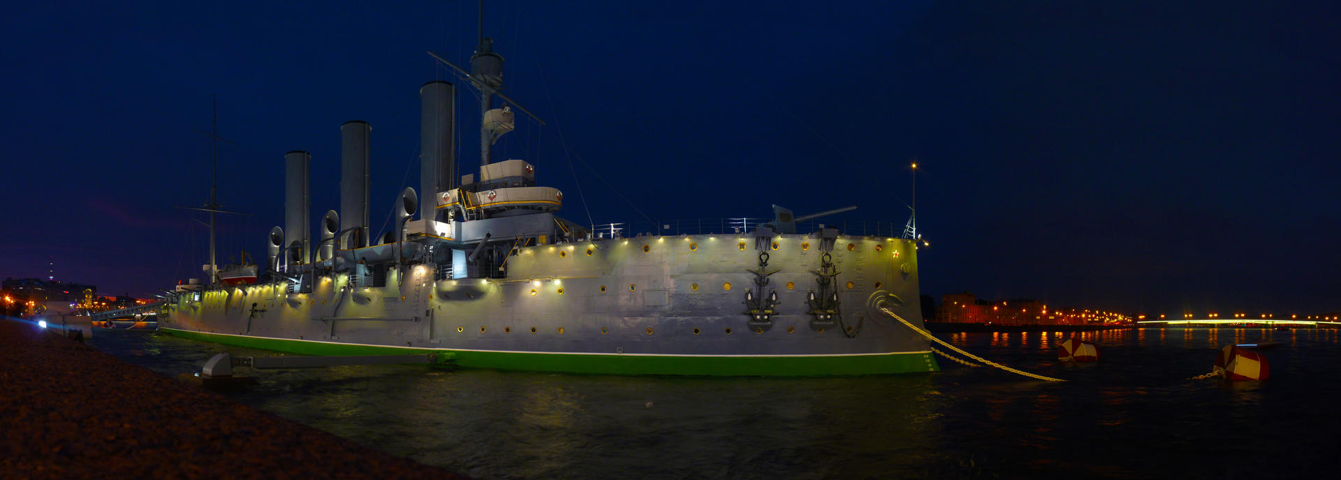 Saint-Petersburg. The Cruiser Aurora at night by EldarZakirov