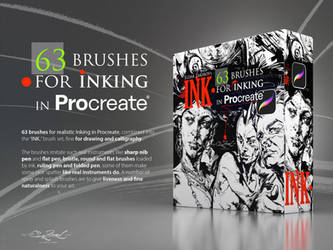 INK. 63 Procreate Brushes for realistic Inking