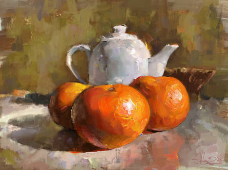 Tangerines and a teapot
