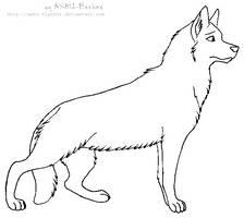 lineart - German Shepherd by ANBU-Flashez
