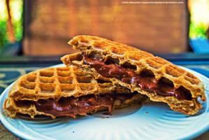 Pumpkin waffles with banana butter by Apeanutbutterfiend