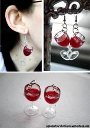 Red Wine earrings by Apeanutbutterfiend