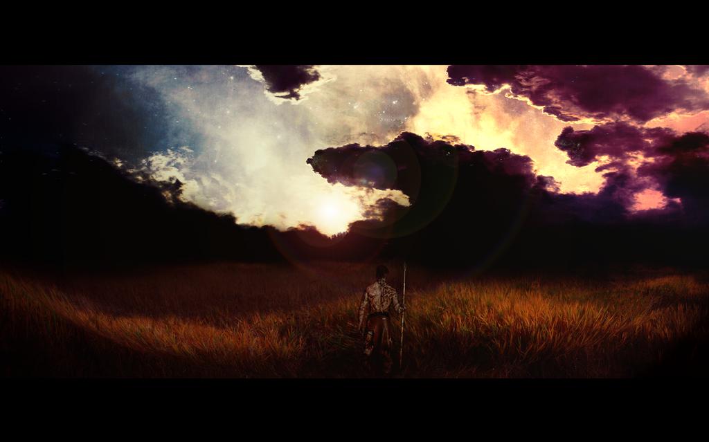 Sunset In The Fields by Borruen