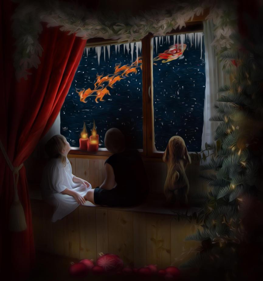 Waiting for Santa by Adeleene