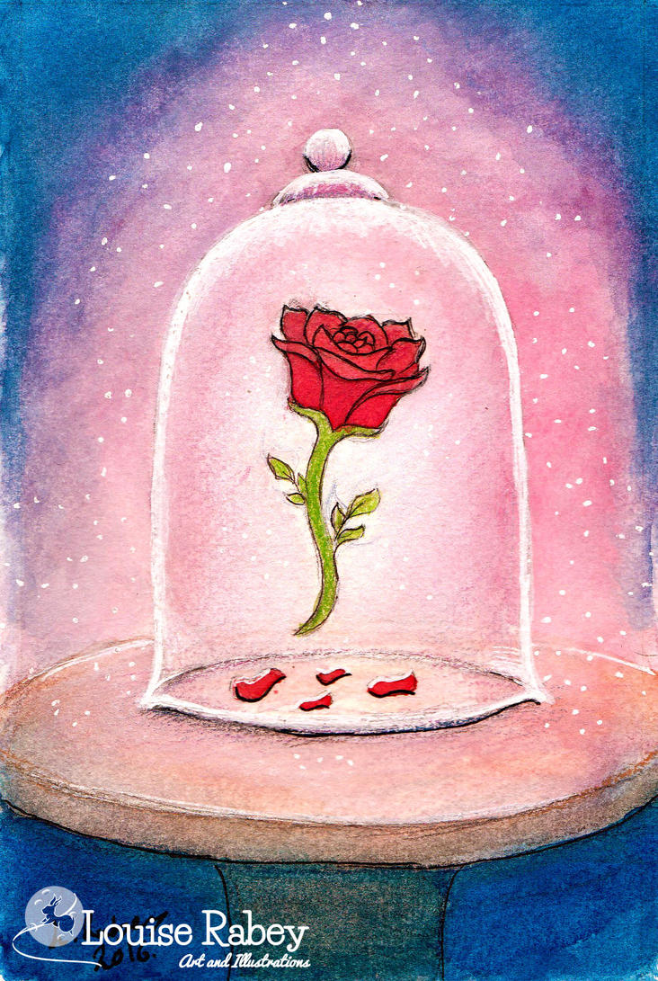Beauty And The Beast Inspired Rose Painted Sketch By Louise Rabey