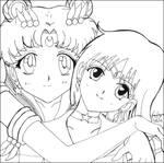 Sailor Moon and Sailor Saturn