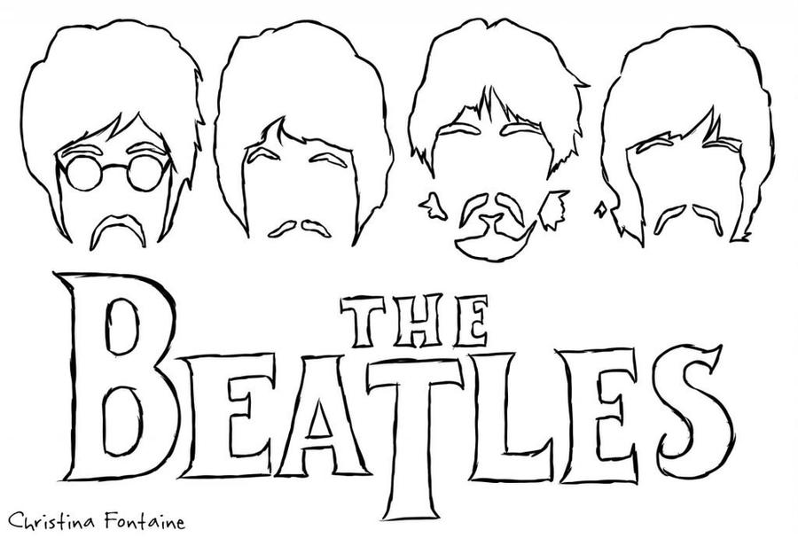 free beatles coloring pages - the beatles silhouette by vampiretteknight on deviantart
