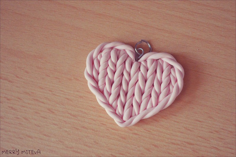 Polymer clay knitted heart by merry339 d6lzpp5