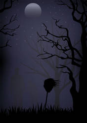 Spooky Night Scene - VECTOR ART