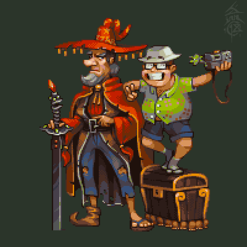 Rincewind, Twoflower, Luggage, Imp and Kring