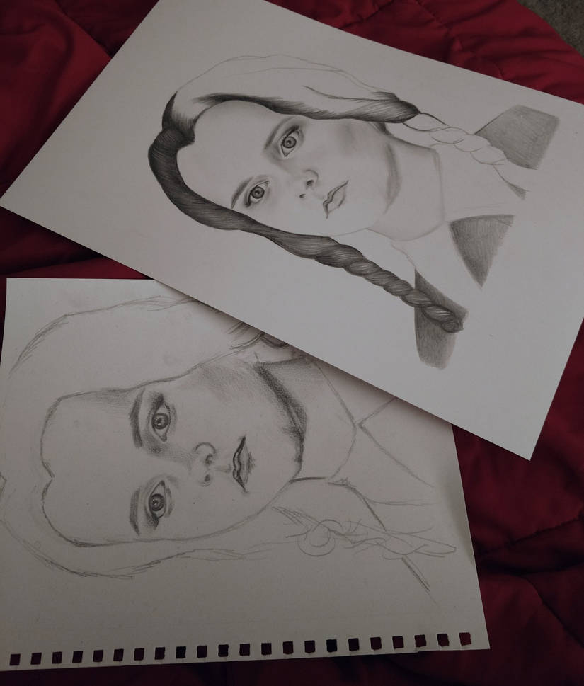 Wednesday Addams Sketch VS Drawing by AndyVRenditions