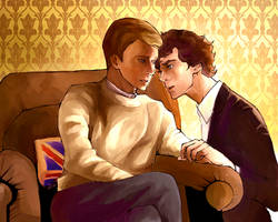 Collaboration with Jun: Johnlock by kaiseiyuubi