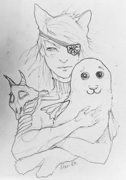 catgirl with seal