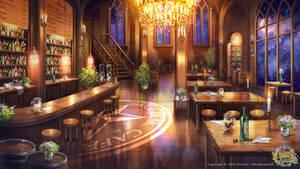 Dark dusk cafe
