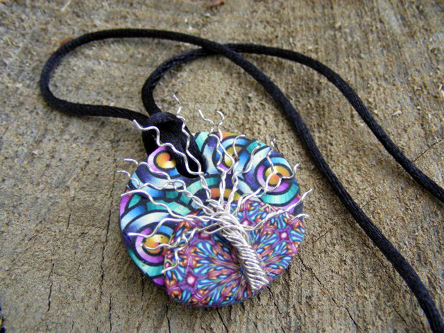 polymer pendant with dots culture pendants scientific clay playing