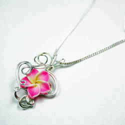 Wire Wrap Clay Flower Pendant