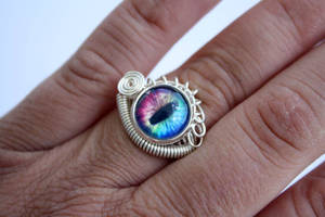 Rainbow Evil Dragon Eye Wire Wrap Ring by Create-A-Pendant