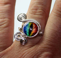 Steampunk Evil Rainbow Dragon Eye Ring by Create-A-Pendant