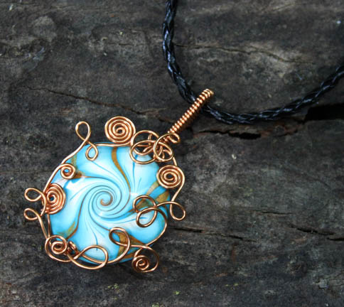 Copper Wire Wrap Swirl Polymer Clay Vortex Pendant by Create-A-Pendant