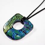 Large Hole Fused Dichroic Art Glass Pendant