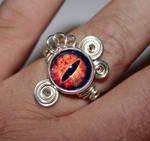 Steampunk Glass Eye of Sauron Wire Wrap Ring