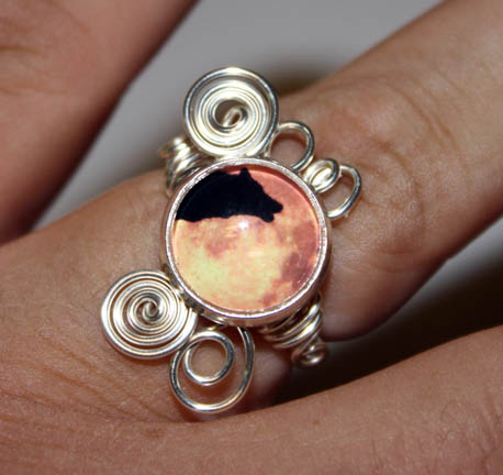 Howling Wolf in Moon Adjusable Wire Wrap Ring by Create-A-Pendant