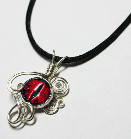 Wire Wrap Glass Red Evil Dragon Eye Pendant by Create-A-Pendant
