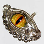 Wire Wrap Yellow Dragon Eye Pendant