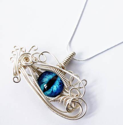 Wire Wrap Blue Glass Dragon Eye Pendant by Create-A-Pendant
