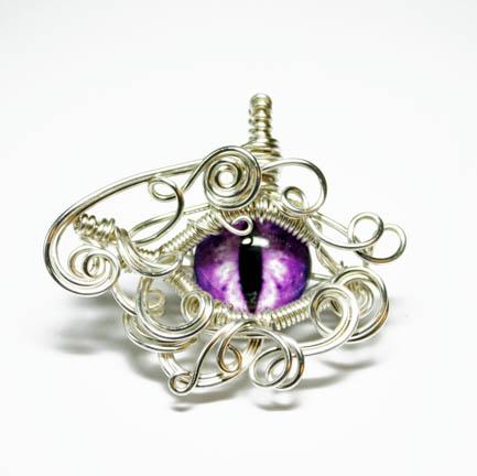 Purple Wire Wrap Glass Dragon Eye Pendant by Create-A-Pendant
