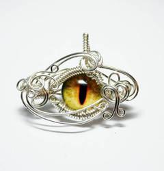 Wire Wrap Yellow Dragon Eye Pendant by Create-A-Pendant