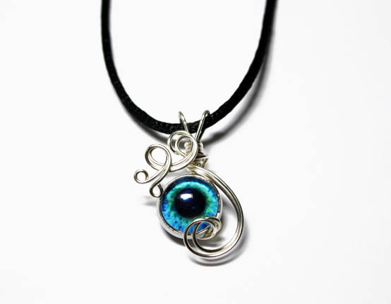 Small Wire Wrap Blue Human Eye Pendant by Create-A-Pendant