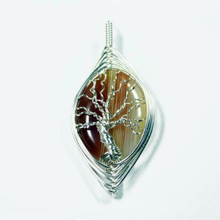Herringbone Tree of Life Agate Pendant by Create-A-Pendant